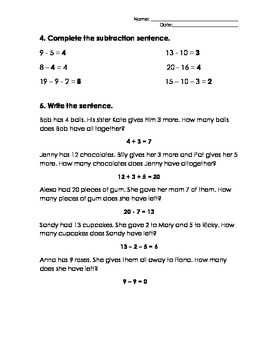 Addition and Subtraction Assessment and Key