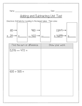 Addition and Subtraction Assessments
