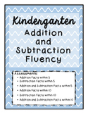 Addition and Subtraction Assessments for Kindergarten