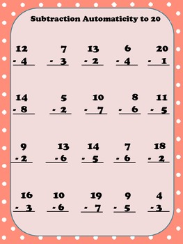 Addition and Subtraction Automaticity to 20 Activity
