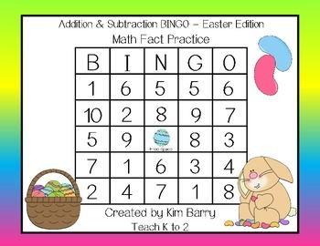 Addition and Subtraction BINGO - Easter Edition