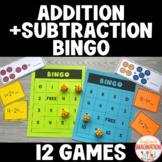 Addition and Subtraction BINGO Kindergarten & 1st Grade Math Games