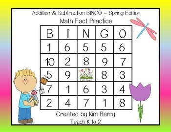 Addition and Subtraction BINGO - Spring Edition