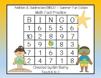 Addition and Subtraction BINGO - Summer Fun Edition