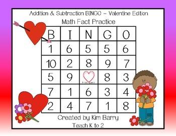 Addition and Subtraction BINGO - Valentine Edition