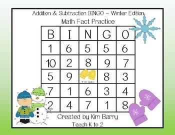 Addition and Subtraction BINGO - Winter Edition