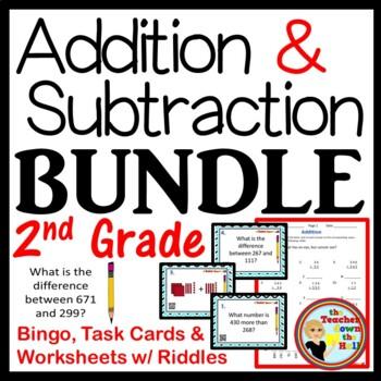 ADDITION and SUBTRACTION BUNDLE - Bingo/Task Cards/Worksheets  Grades 2-3