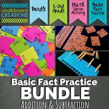 Addition and Subtraction BUNDLE (Math Centers for Basic Fact Practice)