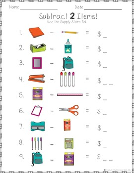 Adding and Subtracting First Week of School Math Activities Shopping Whole #