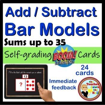 BOOM Addition and Subtraction Bar Models - BOOM Cards! (24 Digital Task Cards)