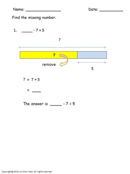 Addition and Subtraction Bar Models/Tape Diagrams - Singapore mathematics