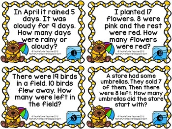 Addition and Subtraction Basic Fact Word Problem Task Cards - April Edition