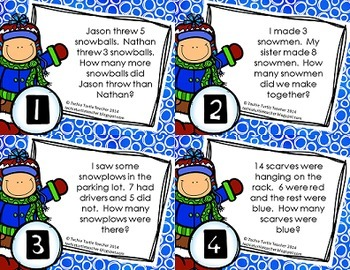 Addition and Subtraction Basic Fact Word Problem Task Cards - December Edition