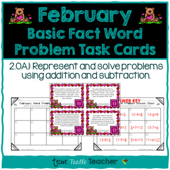 Addition and Subtraction Basic Fact Word Problem Task Cards - February Edition