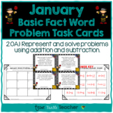 Addition and Subtraction Basic Fact Word Problem Task Cards - January Edition