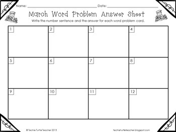 Addition and Subtraction Basic Fact Word Problem Task Cards - March Edition
