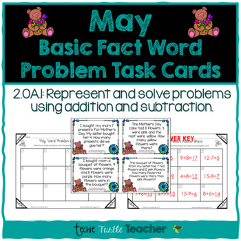 Addition and Subtraction Basic Fact Word Problem Task Cards - May Edition