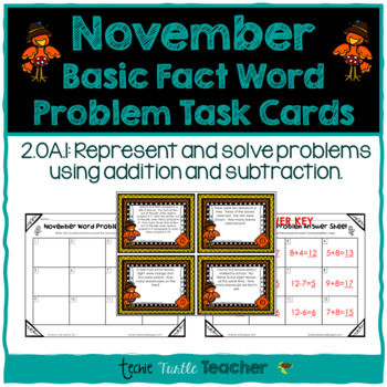 Addition and Subtraction Basic Fact Word Problem Task Cards - November Edition