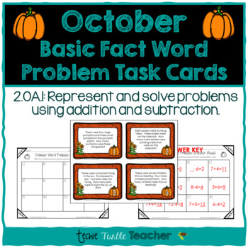 Addition and Subtraction Basic Fact Word Problem Task Cards - October Edition