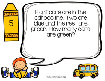 Addition and Subtraction Basic Fact Word Problem Task Cards - September Edition