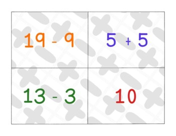 Addition and Subtraction Basic Facts Cards Games Activities PDF Printable