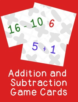 Addition and Subtraction Basic Facts Cards Games Activitie