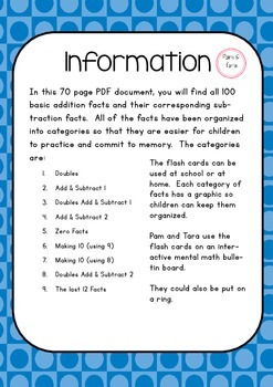 Addition and Subtraction Basic Facts: Posters & Flash Cards