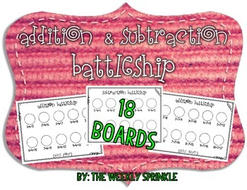 Addition and Subtraction Battleship to 20