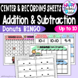 Addition and Subtraction Bingo Donuts up to 10 ~Perfect for Mini-Erasers~