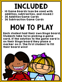 Back to School Bingo {Addition and Subtraction within 10}
