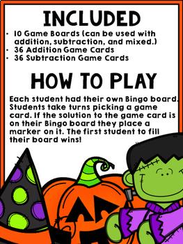Halloween Bingo {Addition and Subtraction within 10}