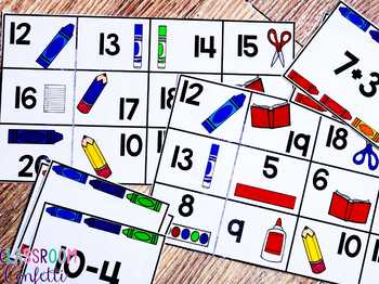 Addition and Subtraction Bingo {Within 20} (Back to School Theme)