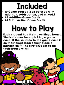 Addition and Subtraction Bingo {Within 20} (Summer Theme)