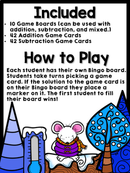 Addition and Subtraction Bingo {Within 20} (Winter Theme)