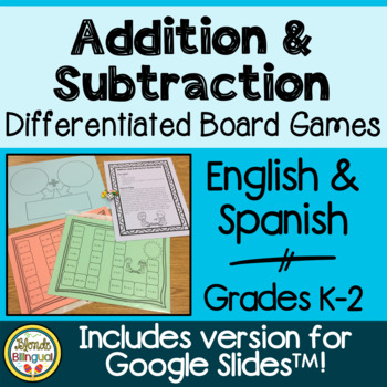 Addition and Subtraction Board Game Spanish and English