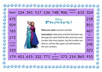 Addition and Subtraction Board Game - 'Frozen' themed