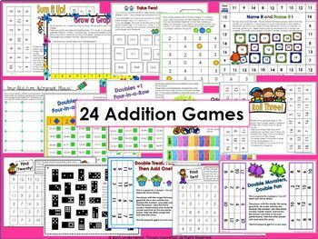Addition, Subtraction, Missing Addend, and Missing Subtrahend Games Bundle