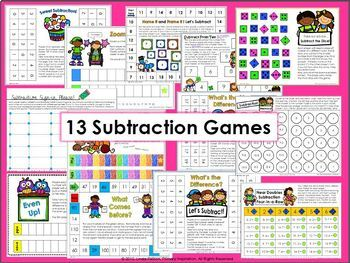 Addition,Subtraction,Missing Addend, and Missing Subtrahend Games Bundle
