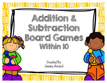Addition and Subtraction Board Games with 10
