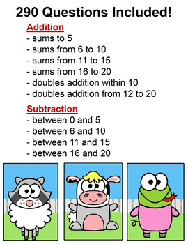 Addition and Subtraction Math Facts Review Game for SMARTboards & Computers