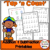 "Addition and Subtraction Camping Worksheets with ""Tap 'n Count"" points {CCSS}"