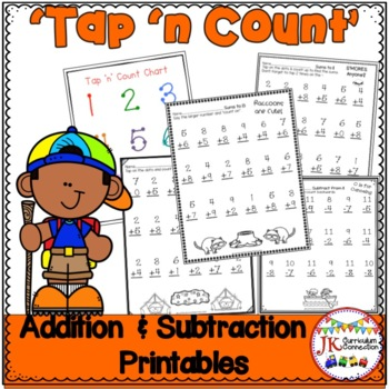 """Addition and Subtraction Camping Worksheets with """"Tap 'n Count"""" points {CCSS}"""