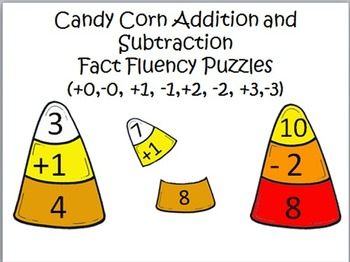Addition and Subtraction Facts Candy Corn Puzzles +0,-0, +