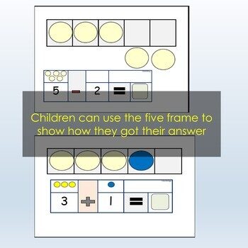 Addition and Subtraction Cards within 5, Using Five Frame and Counters