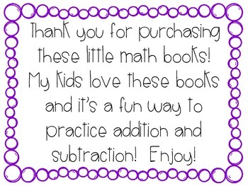 Addition and Subtraction Caterpillar Books