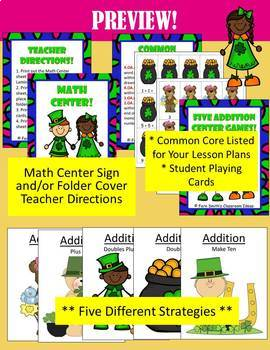 St. Patrick's Day Addition and Subtraction Math Center Games Bundle