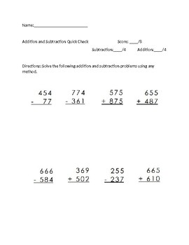 Addition and Subtraction Check With and Without Regrouping