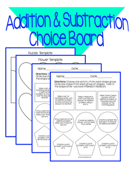 Addition and Subtraction Choice Board