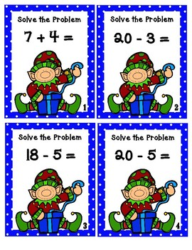 Addition and Subtraction Christmas Elves- Scoot Game