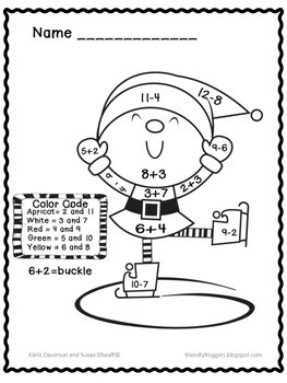 Addition and Subtraction Christmas Math Coloring Sheets | TpT